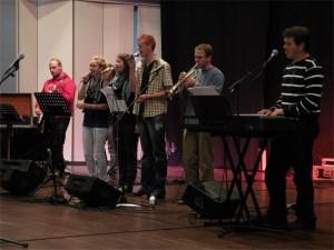 Forsangere ved gudstjenesten i Harmonien